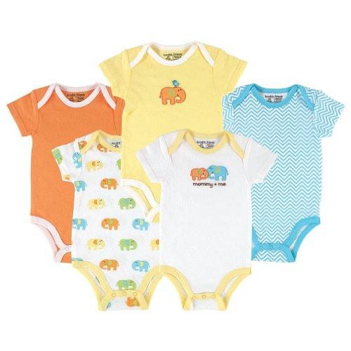 (Luvable Friends Unisex Baby Cotton Bodysuits, Elephant Short Sleeve 5 Pack, 6-9 Months (9M))