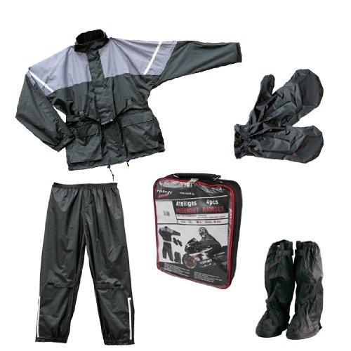 Roleff Racewear Regenjacke und Regenhose, 4-teilig, Schwarz/Grau, XXXL