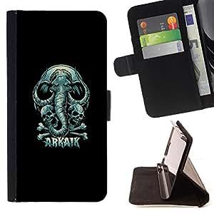 BullDog Case - FOR/LG G3 / - / Arkaik - Skull & Elephant /- Monedero de cuero de la PU Llevar cubierta de la caja con el ID Credit Card Slots Flip funda de cuer