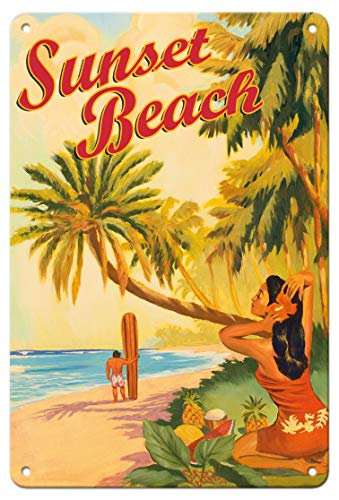 Pacifica Island Art 8in x 12in Vintage Tin Sign - Sunset Beach Hawaii - Oahu North Shore - Surfer Rick Sharp