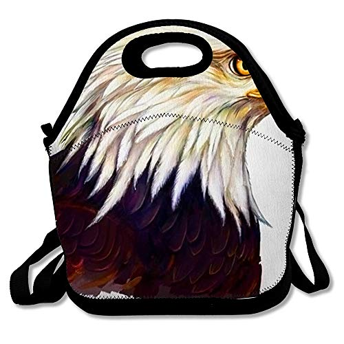 (Insulated Lunch Bag Digital Face American Eagle Head Paintin Bird Painting Majestic America Bald Beak Design Eye Reusable Lunch Tote for Work and School)