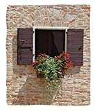 Chaoran 1 Fleece Blanket on Amazon Super Silky Soft All Season Super Plush Tuscan Decor Collection Antique Looking Window on Ancienttone Wall with Flowers Pienza Tuscany Print Fabric et Extra Beige