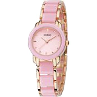 KIMIO K455L-SRG04 Fashion Ladies Quartz Wristwatches Stainless Steel Pink mix Golden