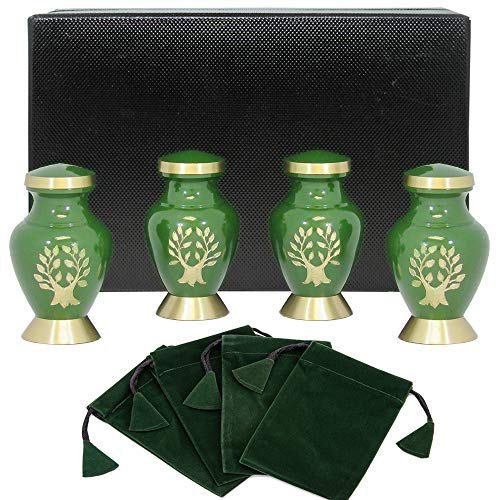Tree of Life Small Keepsake Urns for Human Ashes - Set of 4 - Beautiful, Timeless, Classic - Find Comfort Everytime You Look at These Mini High Quality Cremation Urns - with Velvet Urn Case