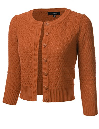 Button Down Wool Skirt - FLORIA Women's Button Down 3/4 Sleeve Crew Neck Cotton Knit Cropped Cardigan Sweater DUSTYORANGE M