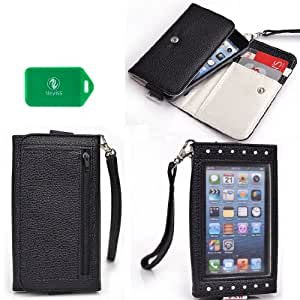 Xposed Universal wallet phone case with decorative front view window in Black for Samsung Ch@t 527