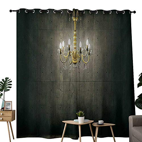 NUOMANAN backout Curtains for Bedroom Grunge,Classic Chandelier in a Dark Gothic Wooden Room Vintage Style Room Picture,Grey and Yellow,Pocket Thermal Insulated Tie Up Curtain ()