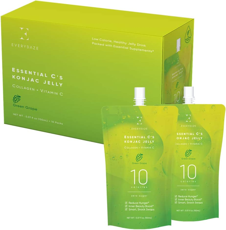 EVERYDAZE Inner Beauty Collagen + Vitamin C Konjac Jelly 150ml x 10 Pouches | 10 Calories, 0 Sugar | Weight Management, Satisfy Cravings, Health Boost (Green Grape Flavor)