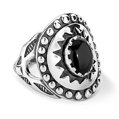 American West Sterling Silver Black Agate Gemstone Sunburst Shield Ring Size 6
