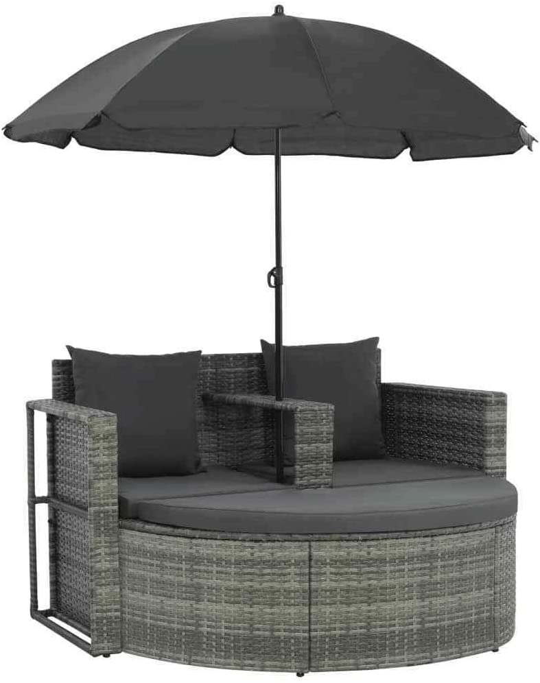 Sayagold 2-Seater Outdoor Sofa Set Rattan Sun Day Chair Garden Furniture Set with Parasol