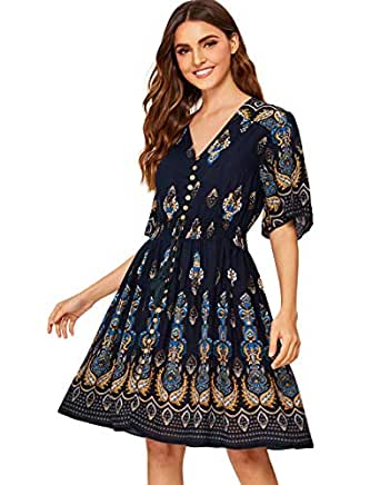 Milumia Women's Boho Button Up Split Floral Print Flowy Party Dress - Multicoloured - X-Small