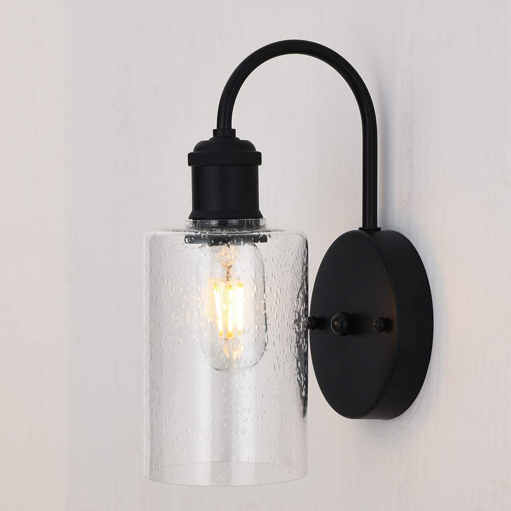 CASILVON Contemporary Seeded Glass Lampshade Farmhouse Matte Black Wall Sconce, Wall Lamp with Mounted Light Fixture for Home Decor Bathroom Bedroom Hallway