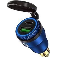 USB-sigarettenaansteker-adapter voor BMW motorfiets DIN/Hella EU stekker - Dual oplader adapter stopcontact USB C PD 3.0…
