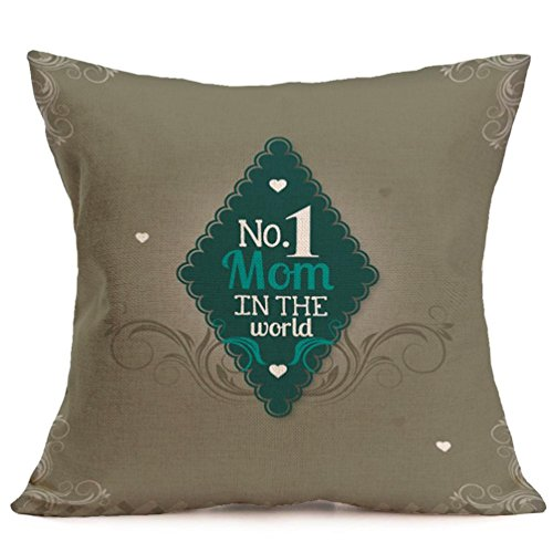 43cm Square Pillow Cushion Cover Letter Print Linen Pillowcase (Pattern 3) - 2