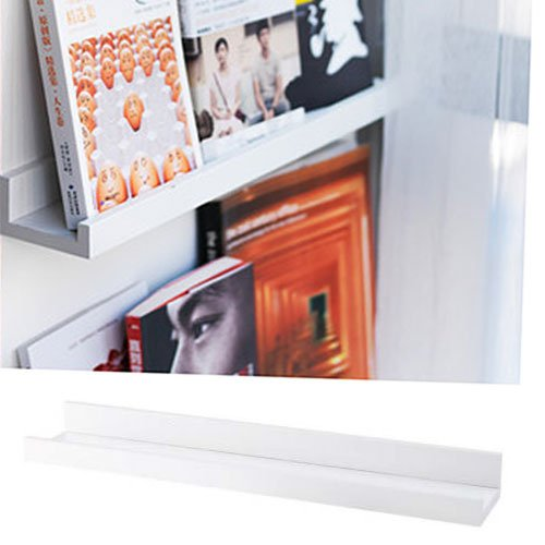 Modern Design Floating Picture Display Ledge Wall Mountable Shelf 22 Inches Long White (Photo Rack Display)