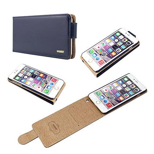 Iphone exécutif Brillant 6 plus (5,5 pouces) Bleu marine cuir flip Housse avec deux emplacement de carte pour Apple Iphone 6 plus (5,5 pouces)