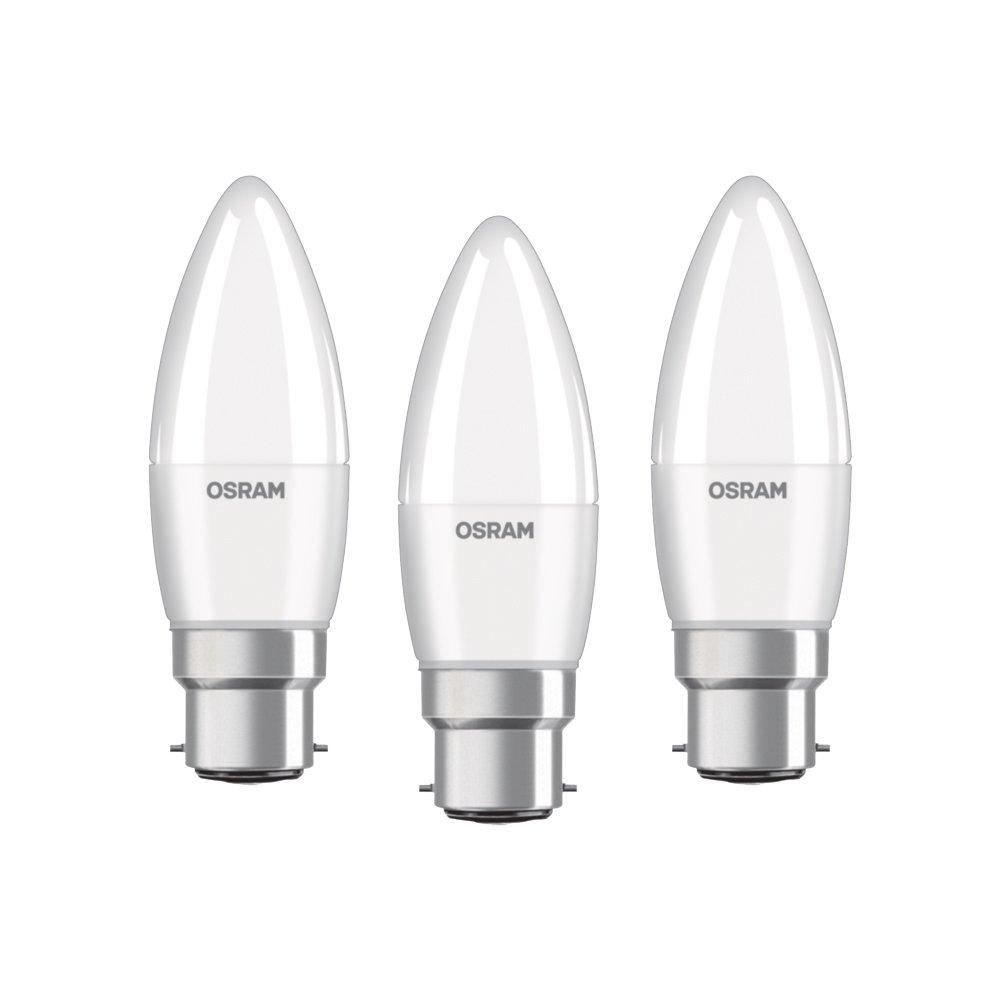 OSRAM ampoule LED E14 BASE Classic B / 5,7 W - Equivalence incandescence 40 W, ampoule LED en forme de bougie / mat, blanc chaud - 2700K, lot de 3 LEDVANCE 4052899955509 ampoule 40w 230v ampoule halogène e14 ampoule bougie ampoule bougie 40 watt bulbe 40w