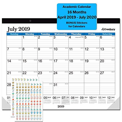 (Large Monthly Desk Calendar 2019-2020 17.75 x 13.75 (Blue), Use Through July 2020, Desktop Deskpad Academic Calendar 2019-2020 with Stickers for Calendars, Calendar for Office, Home or School)