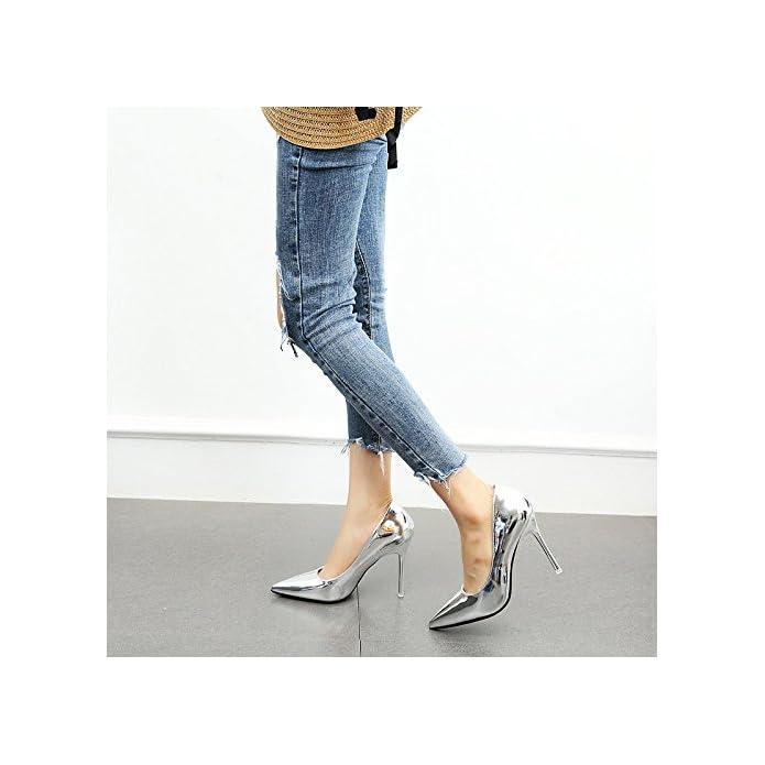 Ymfie La Signora Bocca Superficiale Moda Sexy Temperamento Stiletto A Punta Argento Oro Tacchi Alti Scarpe Da Sposa
