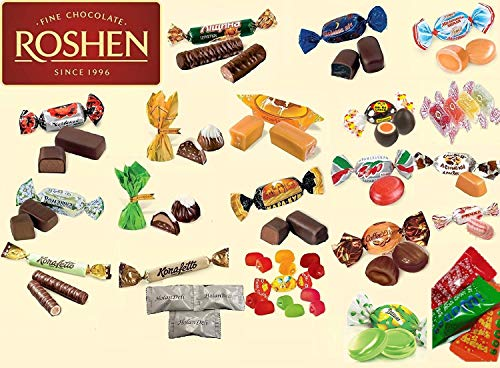 - Premium Ukrainian Assorted Candy and Chocolate Mix from Roshen. 2 lb. (23 types of different candy) Includes Our Exclusive HolanDeli Chocolate Mints