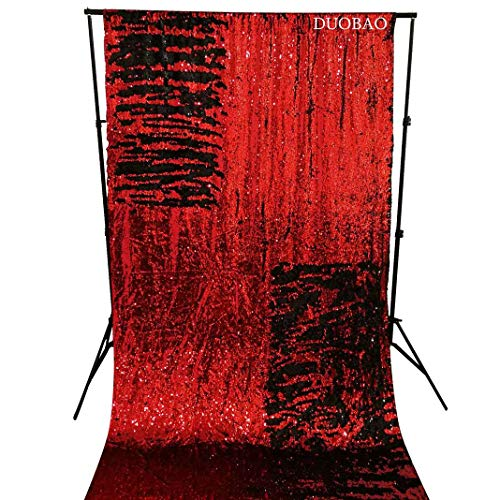 DUOBAO Sequin Backdrop Curtains 2 Panels 4FTx8FT Reversible Sequin Curtains Red to Black Mermaid Sequin Curtain for Wedding Backdrop Party Photography Background by DUOBAO (Image #1)