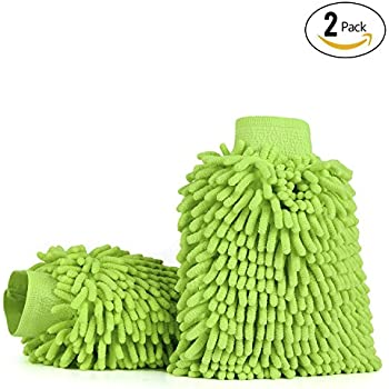 Car Wash Mitts (2-pack), iTavah Premium Microfiber Chenille Super Absorbent Wash and Wax Glove (Green)