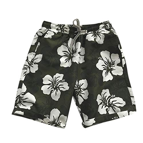 JJLIKRT Men Camouflage Print Casual Beach Swimming Trunks Boxer Brief Swimsuit Cotton Shorts Boardshorts with Pocket