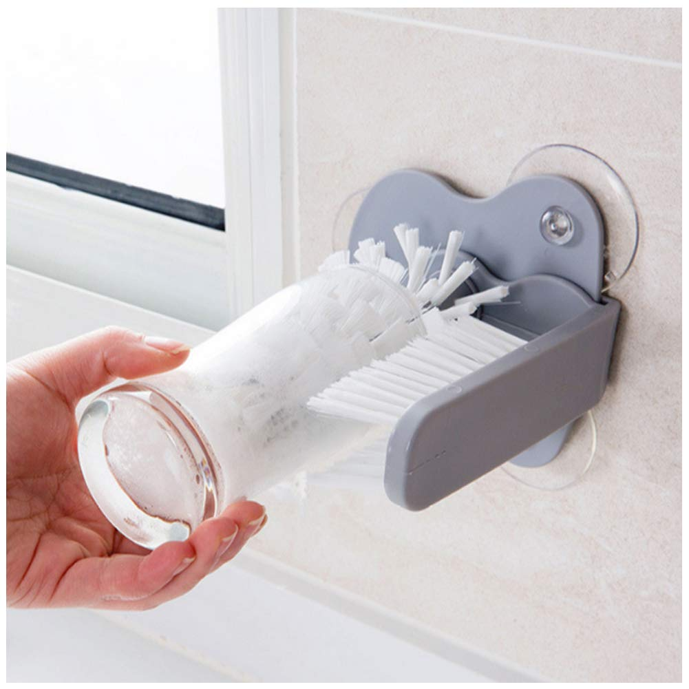 Lavadora De Vidrio con Doble Cara M/ás Limpia La Taza del Vidrio Cepillo De Cerdas del Cepillo con Ventosas Limpiador De Botella para El Bar Cocina Gris 1PC