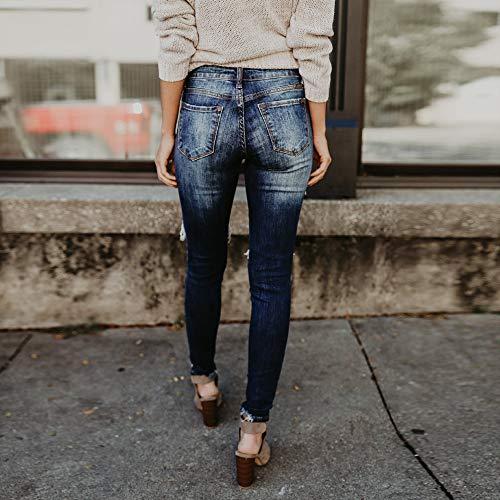 Slim Agujero Skinny Vaqueros Gusspower Pantaló Pantalones lápiz Pantalones Fit Pitillo Mujer Cintura Alta Rotos Pitillo Slim Negro Stretch Casuales Elasticos OqfTw