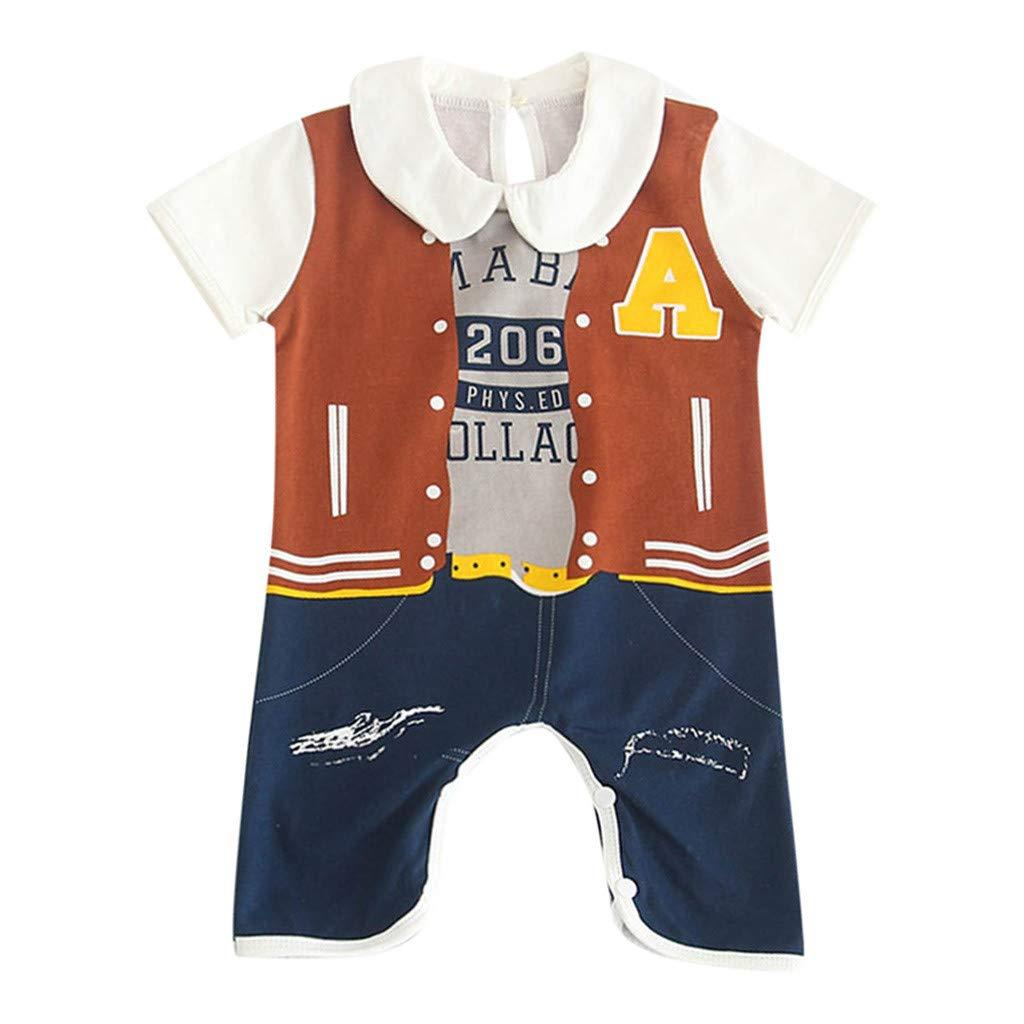 228eb55ed8d5 Amazon.com  Newest Toddler Kids Baby Boy Romper Short Sleeve Cartoon  Gentleman Letter Print Bodysuit Onesie Outfit Summer Short Jumpsuit Coverall  (Age 3-6 ...