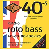 Rotosound RB(40-5 Nickel (Unsilked) 5 String Bass Guitar Strings (40 60 80 100 125)