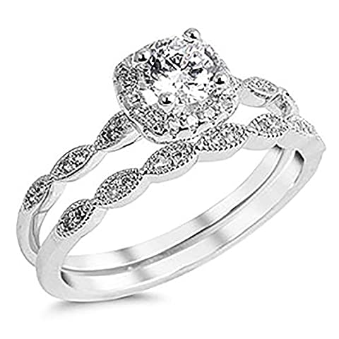 Sterling Silver 925 Cubic Zirconia CZ Halo Vintage Style Engagement Ring Wedding Set Sizes 4-10 (Vintage Ring Size 5)