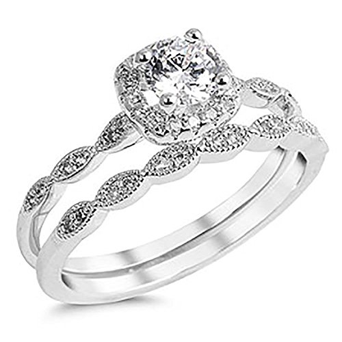 DK Quality Jewels Sterling Silver 925 Cubic Zirconia CZ Halo Vintage Style Engagement Ring Wedding Set Sizes 4-10 (7) ()