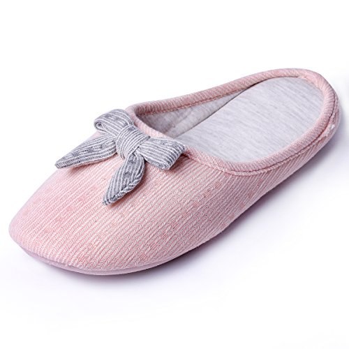 Image of Knitted Slippers with Bow | Cute Cozy Women Slippers | Lightweight Comfort House Slippers | Slip on Indoor Shoes | Memory Foam Anti-Slip Sole (5-6, Pink Bow)