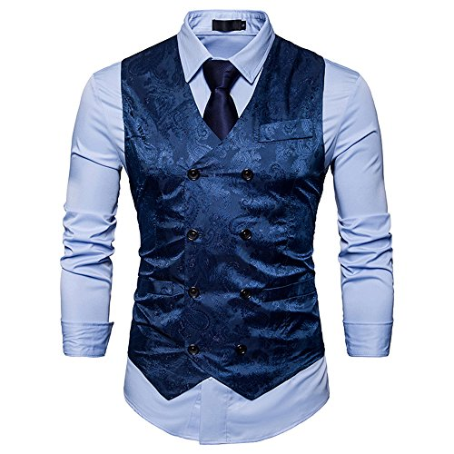 Cyparissus Mens Business Suit Vest Waistcoat Men's Dress Vest or Tuxedo Vest (S, Blue) (Vests Tuxedo Shirts)