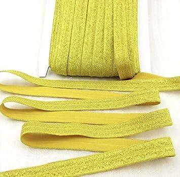 """3 yards gold 5//8/"""" solid metallic FOE Fold over elastic DIY hair ties"""