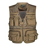 Kedera Men's Mesh Breathable Openwork Camouflage Journalist Photographer Fishing Vest Waistcoat Jacket Coat (Khaki, Large)