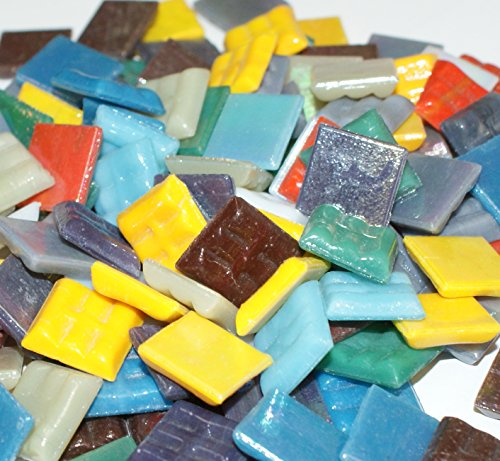 "Hakatai Glass Mosaic Tile 5/8"" – ½ Pound Rainbow Bright Blend (Cream Mosaic Tiles)"