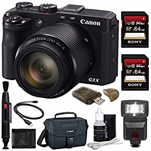 Canon PowerShot G3 X Digital Camera + 64GB + Spacious Carrying Case + Memory Card Wallet + Card Reader + Flash Bundle