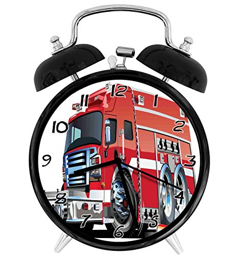 Big Fire Truck with Emergency Equipments Universal Safety Rescue Team Engine Cartoon Red Silver 4 inch Round Silent Analog Alarm Clock Non Ticking,with Night Light Beside/Desk Alarm Clock (Black)
