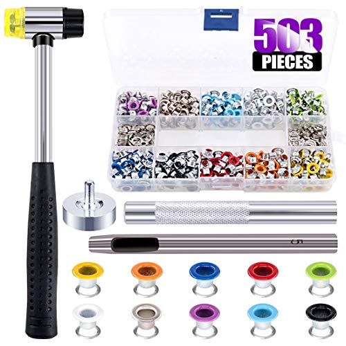 Swpeet 500Pcs 10 Colors 3/16 inch Metal Grommets Kit with Rubbe Lightweight Soft Mallet, Multi-Color Metal Eyelets Kits with Installation Tools for Gunsmithing Tools Leather Crafts Jewelry Wood (Wood For Metal Grommets)