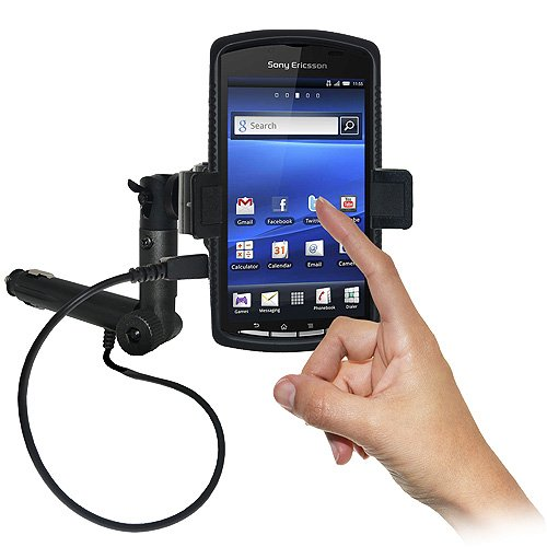 Amzer AMZ95125 Lighter Socket Phone Mount with Charging and Case System for Sony Ericsson Xperia Play, Sony Ericsson Xperia Play 4G - Retail Packaging - Black (Sony Phone Ericsson Case)