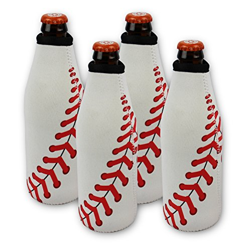 Baseball Beer 4 Bottle Can Koozies Cooler Neoprene Collapsible Holder Insulator Sleeve (4 Count) (Project Fit Jacket Athletic)