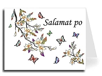 elegant butterflies watercolor tagalog salamat po thank you card set 10 monotype corsiva