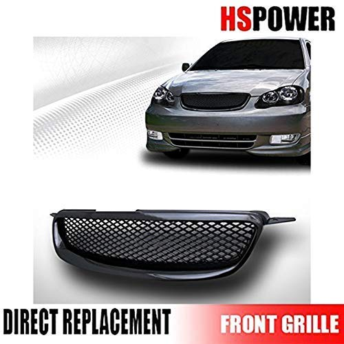 HS Power Front Grill Compatible with Toyota Corolla 03-04 JDM Black TR-D Mesh Hood Bumper Grille ABS