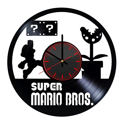 Taniastore Super Mario Game Design Vinyl Record Wall Clock Unique gifts for him her Gift Ideas for Mothers Day Father birthday anniversary wedding cute and original gifts for everybody