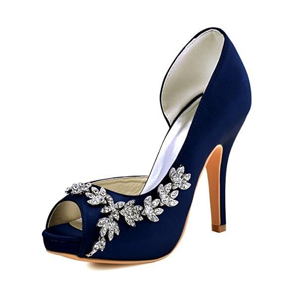 dfc08f6f949522 ElegantPark Women s Peep Toe Platform High Heel Rhinestones Satin Evening  Prom Wedding Shoes