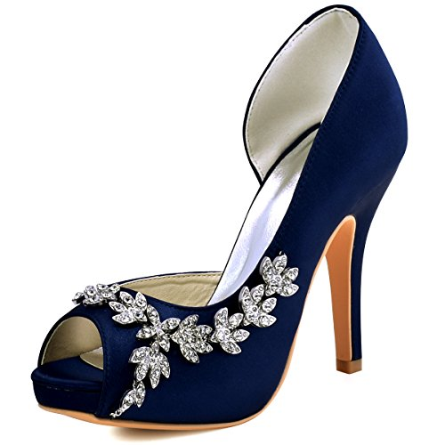 ElegantPark HP1560IAC Women's Peep Toe Platform High Heel Rhinestones Satin Wedding Party Dress Shoes Navy Blue US 6