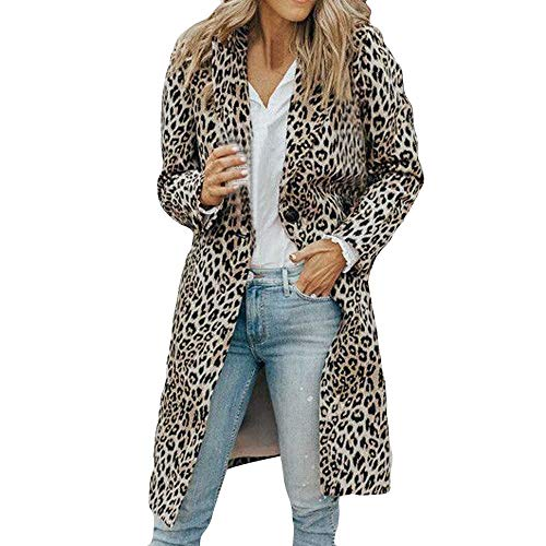 Lowprofile Women Lapel Overcoat Leopard Print Cardigan Winter Long Fleece Open Front Top Blouse