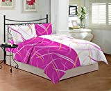Bombay Dyeing Sestina 144 TC Cotton Double Bedsheet with 2 Pillow Covers, Pink